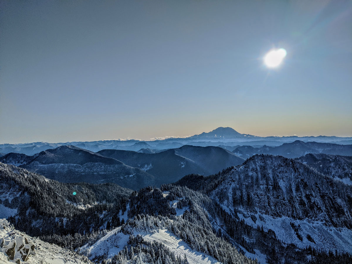View from the top over the Northwest cascades.